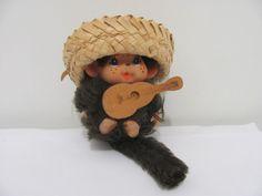 "VTG Plush Miniature Monchichi Monkey Doll Sekiguchi Hawaiian Hat 3.5"""