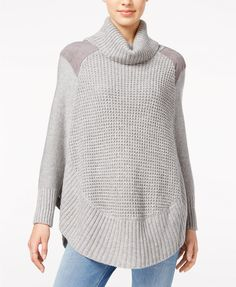 Maison Jules Faux-Suede-Detail Poncho Sweater, Only at Macy's | macys.com