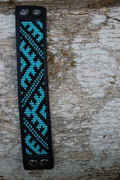 Loom beaded genuine leather cuff bracelet with by SarmasZvirgzdi: