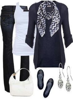 Jeans, white top, black cardigan, b&w scarf, black flats