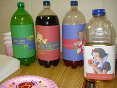 Disney themed drinks with customized labels for a Disney Party - Alien Juice (Mountain Dew), Cogsworth's Cola (Coke or Pepsi), Lilo's Hawaiian Punch (Hawaiian Punch), Snow White's Apple Juice. Disney Birthday, Princess Birthday, Princess Party, Disney Themed Drinks, Disney Sweet 16, Classic Disney Characters, Hawaiian Punch, Disney Bridal Showers, Mountain Dew