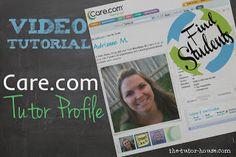 Free video tutorial to show you how to create a Care.com tutor profile.