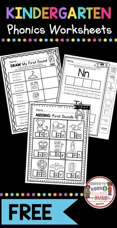 , Teaching First Sounds - Complete Unit with FREEBIES — Keeping My Kiddo Busy , FREE Kindergarten Phonics Worksheets - first sounds - initial sounds in CVC words - letter sound sorting and alphabet practice - phonological awarenes. Teaching Letters, Teaching Phonics, Phonics Activities, Teaching Letter Sounds, Letter Sound Activities, Teaching Handwriting, Free Handwriting, Handwriting Worksheets, Educational Activities