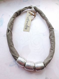 OOAK Grey Leather Necklace with Silver Spacers, African Tribal Statement Bib Necklace Leather Jewelry