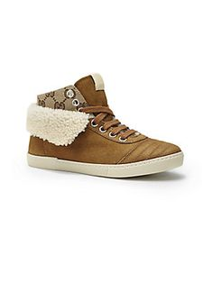 Gucci Boy's Suede & Shearling High-Top Sneakers