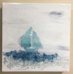Sailing II - mixed media using broken glass, crushed glass and resin hand crafted on gallery wrapped canvas Sea Glass Crafts, Sea Crafts, Sea Glass Art, Glass Wall Art, Mosaic Glass, Glass Beach, Seashell Crafts, Sailboat Art, Sailboats