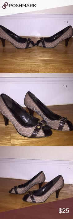 Peep toe heels Adorable for work! These peep toe heels are light brown, dark brown and white. The heel is about 1 1/2. Etienne Aigner Shoes Heels
