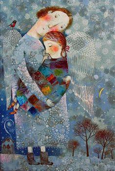 """Ангел-хранитель"" 2016г. 60х40. Холст, масло ""The Guardian Angel"" 2016. 60x40cm. Oil on canvas Anna silivonchik www.silivonchik.ru"
