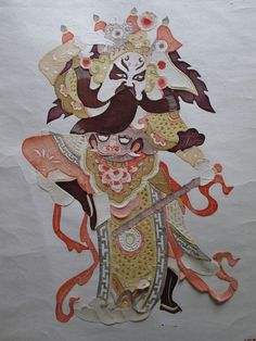 Antique/Vintage Chinese Hanging Scroll Paper Cut Immortal Warrior