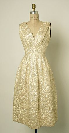 "Christian Dior dress ""Annapurna"" beaded silk sequins gown for fall/winter 1955–56 House of Dior."