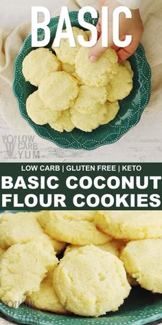 Basic Coconut Flour Cookies – Gluten Free Coconut flour cookies are great for those times when you want something to satisfy your sweet tooth on the go. These simple keto cookies are a great. Keto Cookies, Cookies Gluten Free, Coconut Flour Cookies, No Flour Cookies, Desserts With Coconut Flour, Coconut Flour Baking, Coconut Flour Biscuits, Cheese Cookies, Low Carb Desserts