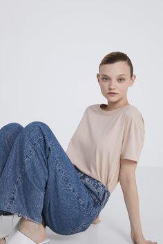 BASIC T - SHIRT-T-SHIRTS-WOMAN | ZARA Australia Zara Australia, Organic Cotton, Bell Sleeve Top, Woman, Model, T Shirt, Tops, Fashion, Supreme T Shirt