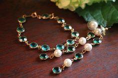 Swarovski Vintage Green bezel jewelry set  by TheHavenFinds