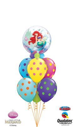 Ariel from Disney The Little Mermaid* is featured in this beautiful balloon bouquet with polka dot latex balloons in bright colors. Perfect for an under the sea party! *Disney licensed product. Other items are not Disney licensed products. ©Disney #balloon #mermaid #disney #qualatex