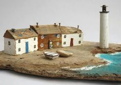 Kirsty Elson makes art from driftwood, and is my very favourite. I dream of owning one of her pieces. Clay Houses, Ceramic Houses, Miniature Houses, Wooden Houses, Driftwood Sculpture, Driftwood Art, Kirsty Elson, Small Wooden House, Deco Marine