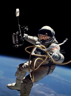TODAY IN HISTORY: On June 3, 1965, Gemini 4 astronaut Ed White becomes the first American to go on a spacewalk. In his right hand, White has a Hand-Held Self-Maneuvering Unit, which he used to control his movements – but he didn't move too far since he's attached to the spacecraft with a 25-feet umbilical line. (NASA)