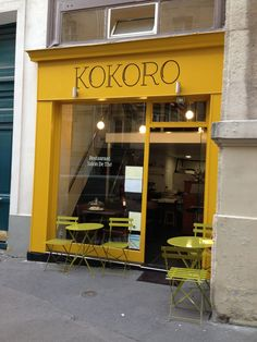 Kokoro Paris. Don't let the bright yellow sign fool you, Kokoro Restaurant is a sea of calm in Paris' 5th arrondissement.The French husband and Japanese wife team behind the neighborhood venture can be seen at work nightly in their small open kitchen.