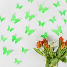 Wandkings 3D-Schmetterlinge in Neon grün von Wandkings auf DaWanda.com