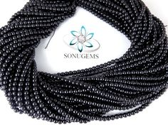 5 Strand Black Smooth 4-4.5mm Rondelle Glass Pearl Beads Strand,Acrylic Pearl beads,Jewelry Beads,Pearlized Glass Beads 13'' Long Strand by SONUGEMS on Etsy
