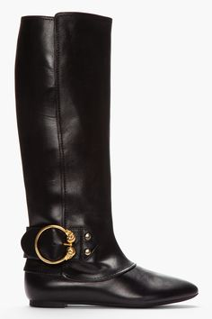 ALEXANDER MCQUEEN Black Leather Double Skull Riding Boots