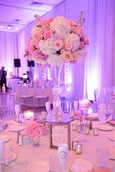 Blush tall centerpiece with crystals for luxury wedding at Martin's Crosswinds.