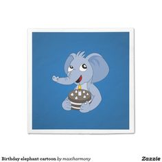 Birthday elephant cartoon standard cocktail napkin