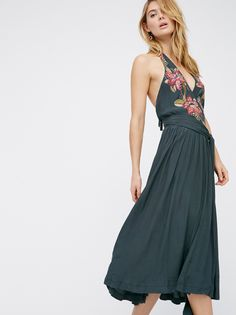 Megan Williams || FP Get In Line Halter Femme Floral Wrapped Midi Dress (Balsam Combo)