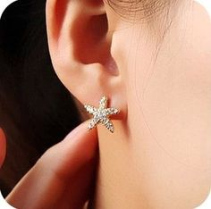 Cute little starfish diamond earring stud, cheap fashion earring shop at : http://costwe.com/animal-earrings-c-50_100.html