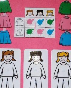 Cuadro_doble_entrada_ropa_color_femenino_pictogramas_ARASAAC Montessori Activities, Infant Activities, Activities For Kids, Crafts For Kids, Autistic Children, My Children, Teacch Material, Autism Education, Task Boxes