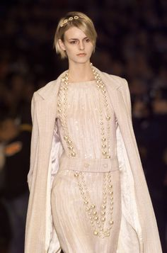 CHANEL-2001 Wool & Sequin Evening Gown, Size-10