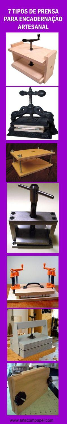 7 Ideias de prensa de madeira e ferro para serem utilizadas na #encadernação #artesanal. Veja mais sobre encadernação aqui: http://www.artecompapel.com