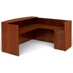 "Offices To Go OTGLAYOUTJADCL Reception Desk Center, Desk, Return, File, 42""H x 78-3/4""W x 71""L, American Dark Cherry"