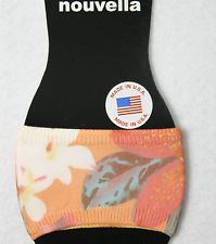 Sandal rings slide toe socks peds orange flower half footie usa made Microfiber