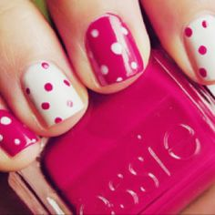 pink and white polka dots.