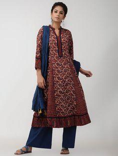 Rust-Blue Panelled Ajrakh-printed Cotton Kurta