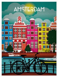 Vintage Travel art Print amsterdam holland canvas or satin photo poster Vintage Travel Posters, Vintage Ads, Vintage Makeup, Old Poster, Poster Poster, Print Poster, Plakat Design, Kunst Poster, Travel Illustration