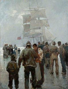"""Frank Brangwyn (Anglo/Welsh, 1867-1956) """"Seascape"""", 1913"""