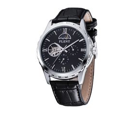 Men's Classical Elegant Leather Strap Automatic Mechanical Watches Moon Phase Second Hand Analog Wrist Watch - Online Shopping for Watches