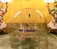 AN ANTIQUE MARITIME VICTORIAN NAILSEA GLASS SHIP/FRIGGER UNDER GLASS DOME. #Victorian #nailsea