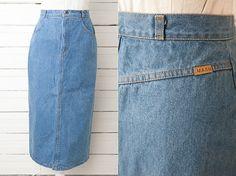 1980's Maxi Vintage Denim Pencil Skirt / Blue by CoverVintage, $29.00