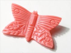 Vintage Art Deco Czech Bohemian old pink carved Butterfly by HofB, $24.00