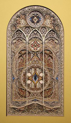 "*Paper Sculpture - ""Stained Glass"" by Eric Standley (Made with hundreds of layers of cut paper.)"