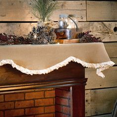 Natural Burlap & Creme Voile Mantle Scarf by VHC Brands