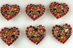Czech Rhinestone Buttons in a Heart Shape.