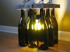 Reclaimed Wood and Wine Bottle Chandelier