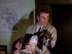 Peter Falk, Columbo and his dog Basset Dog, Basset Hound, Mans Best Friend, Best Friends, A Perfect Murder, Columbo Peter Falk, Mystery Show, Homicide Detective, Dog Died
