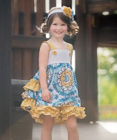 Look at this zulily-Exclusive Yellow Jumper Dress - Infant, Toddler & Girls on #zulily today!