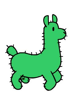 """GIF: FUNYMONY COLLECTION #1 (of 7 pinned*).                   (""""Cactus Llama! by funymony."""") *NOTE: PRESS """"VISIT"""" TO SEE MORE GIFS FROM THIS CREATOR.            NTS: I pinned all that I wanted from this collection. Also, this pin was also pinned to Graphics - GIFs - Cartoon Animals Other Than Cats & Dogs... board."""