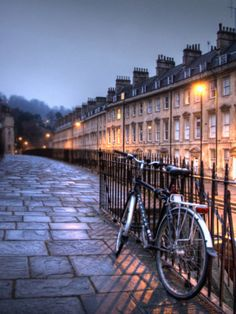 Night Winter Street Scene in Bath, Somerset, England
