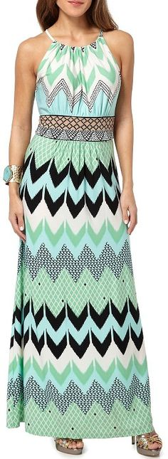 London Times Chevron Pattern Halter Maxi Dress, heels too high in pic though